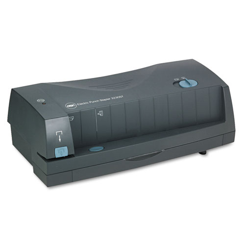 """24-Sheet 3230ST Electric 2-to-3-Hole Adjustable Punch/Stapler, 9/32"""" Holes, Gray. Picture 1"""