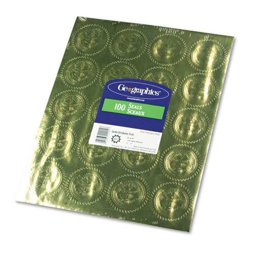 """Self-Adhesive Embossed Seals, 2"""" dia., Gold, 20/Sheet, 5 Sheets/Pack. Picture 2"""