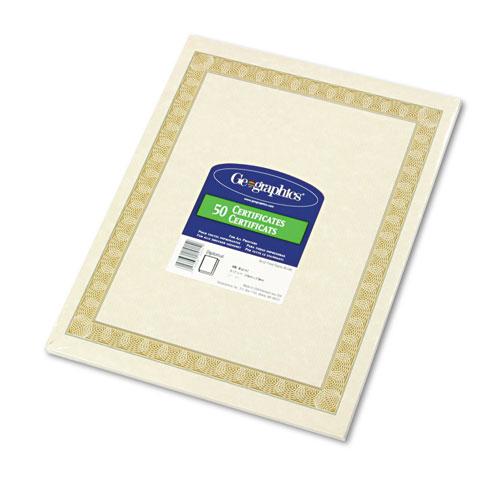 Parchment Paper Certificates, 8-1/2 x 11, Natural Diplomat Border, 50/Pack. Picture 1