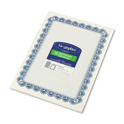 Parchment Paper Certificates, 8-1/2 x 11, Blue Royalty Border, 50/Pack. Picture 1