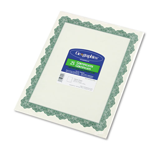 Parchment Paper Certificates, 8-1/2 x 11, Optima Green Border, 25/Pack. Picture 1