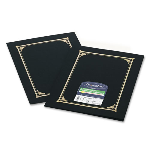 Certificate/Document Cover, 12 1/2 x 9 3/4, Black, 6/Pack. Picture 1