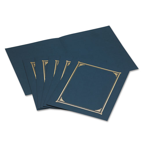 Certificate/Document Cover, 12 1/2 x 9 3/4, Navy Blue, 6/Pack. Picture 1