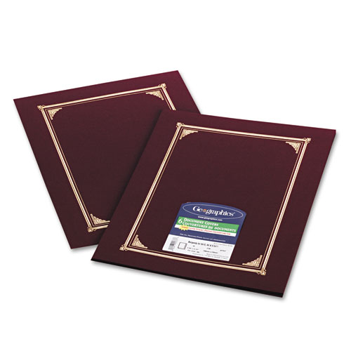Certificate/Document Cover, 12 1/2 x 9 3/4, Burgundy, 6/Pack. Picture 1