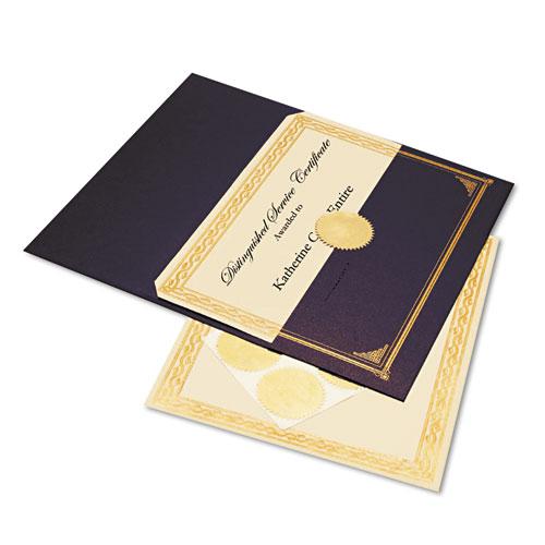 Ivory/Gold Foil Embossed Award Cert. Kit, Blue Metallic Cover, 8-1/2 x 11, 6/KIt. Picture 1