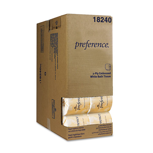 Two-Ply Embossed Bath Tissue, Dispenser Box, Septic Safe, White, 550 Sheets/Roll, 40 Rolls/Carton. Picture 1