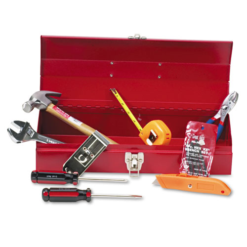 16-Piece Light-Duty Office Tool Kit, Metal Box, Red. Picture 1