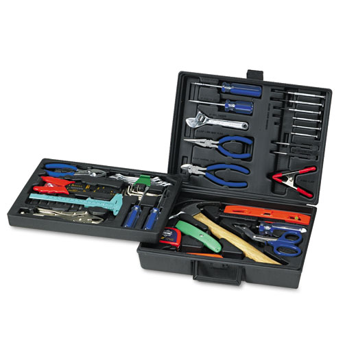 110-Piece Home/Office Tool Kit, Drop Forged Steel Tools, Black Plastic Case. Picture 1