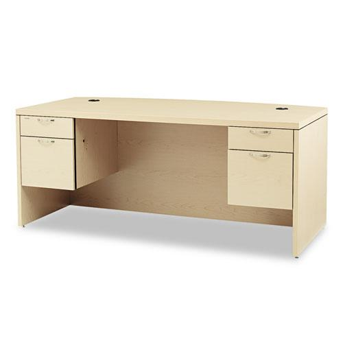 Valido Series Bow Top Double Pedestal Desk, 72w x 36d x 29.5h, Natural Maple. Picture 1