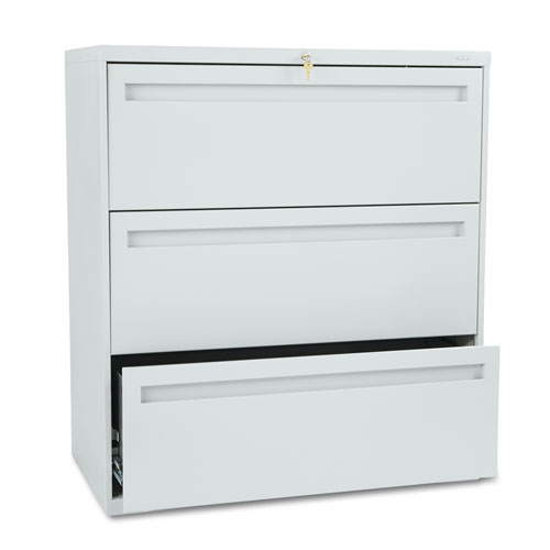 700 Series Three-Drawer Lateral File, 36w x 19-1/4d, Light Gray. Picture 1