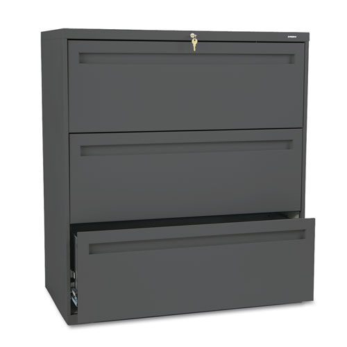 700 Series Three-Drawer Lateral File, 36w x 19-1/4d, Charcoal. Picture 1