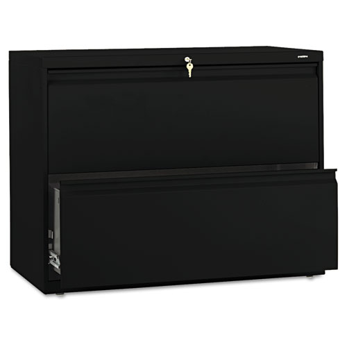 800 Series Two-Drawer Lateral File, 36w x 19-1/4d x 28-3/8h, Black. Picture 1