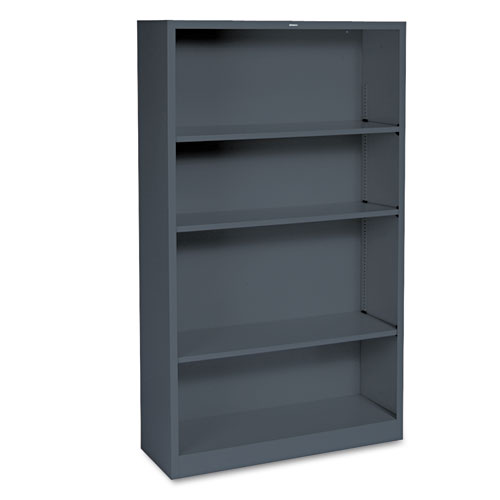 Metal Bookcase, Four-Shelf, 34-1/2w x 12-5/8d x 59h, Charcoal. Picture 1