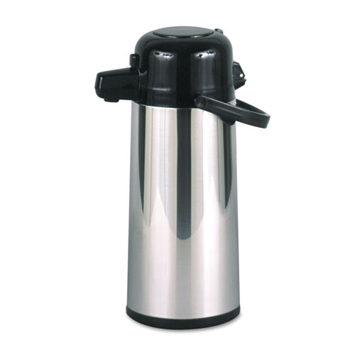 Commercial Grade 2.2L Airpot, w/Push-Button Pump, Stainless Steel/Black. Picture 1