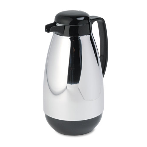 Vacuum Glass Lined Chrome-Plated Carafe, 1L Capacity, Black Trim. Picture 1