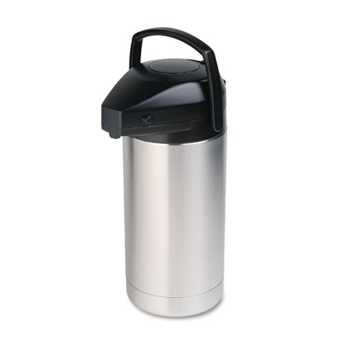 Commercial Grade Jumbo Airpot, 3.5L, Stainless Steel/Black. Picture 1