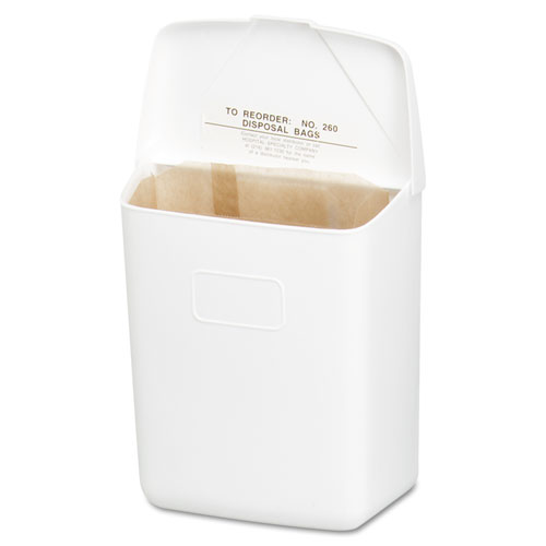 Wall Mount Sanitary Napkin Receptacle-ABS, PPC Plastic, 1 gal, White. Picture 1