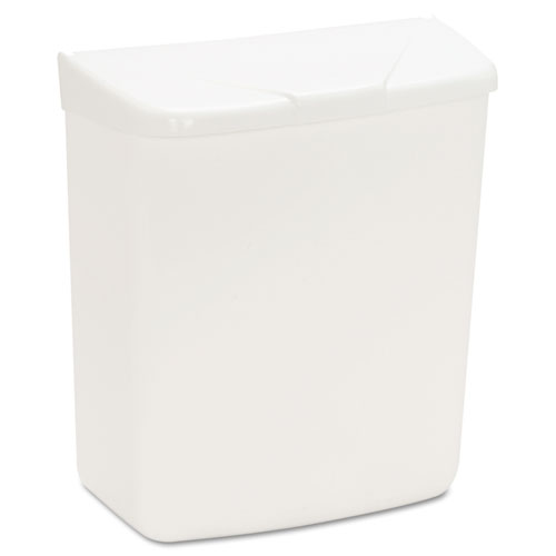 Wall Mount Sanitary Napkin Receptacle-ABS, PPC Plastic, 1 gal, White. Picture 2