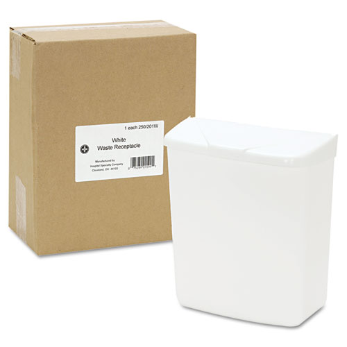 Wall Mount Sanitary Napkin Receptacle-ABS, PPC Plastic, 1 gal, White. Picture 3