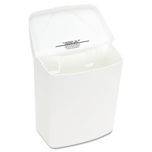 Wall Mount Sanitary Napkin Receptacle-ABS, PPC Plastic, 1 gal, White. Picture 4