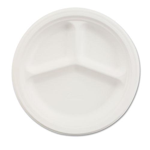 """Paper Dinnerware, 3-Comp Plate, 9 1/4"""" dia, White, 500/Carton. Picture 1"""