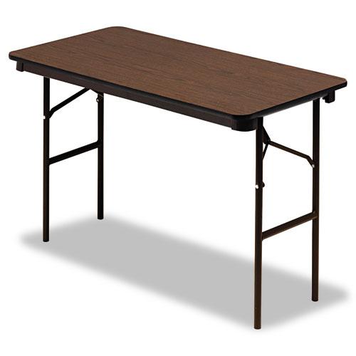 """Iceberg Economy Wood-Laminate Folding Table, 24"""" x 48"""", Walnut. Picture 1"""