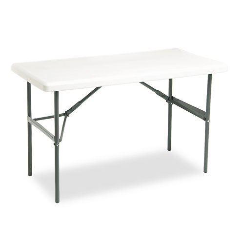 "Iceberg IndestrucTable TOO 1200 Series Folding Table, 24"" x 48"", Platinum. Picture 1"