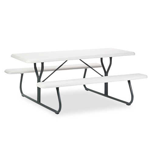 """IndestrucTable TOO 72"""" PICNIC TABLE, Platinum. Picture 1"""