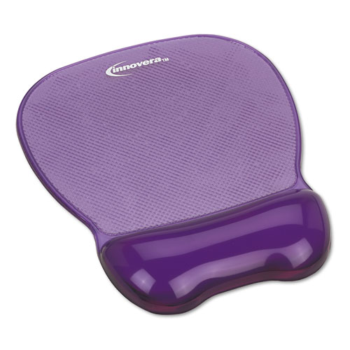 Gel Mouse Pad w/Wrist Rest, Nonskid Base, 8-1/4 x 9-5/8, Purple. Picture 1