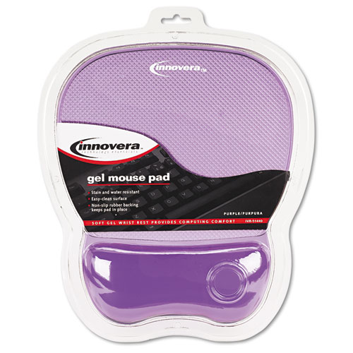 Gel Mouse Pad w/Wrist Rest, Nonskid Base, 8-1/4 x 9-5/8, Purple. Picture 2
