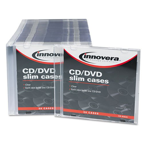 CD/DVD Slim Jewel Cases, Clear/Black, 50/Pack. Picture 2