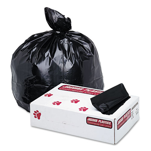 """Industrial Strength Low-Density Commercial Can Liners, 60 gal, 1.7 mil, 38"""" x 58"""", Black, 100/Carton. Picture 1"""