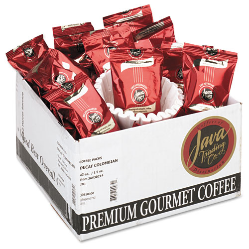 Coffee Portion Packs, 1.5oz Packs, Colombian Decaf, 42/Carton. Picture 1