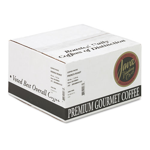 Coffee Portion Packs, 1.5oz Packs, French Roast, 42/Carton. Picture 3