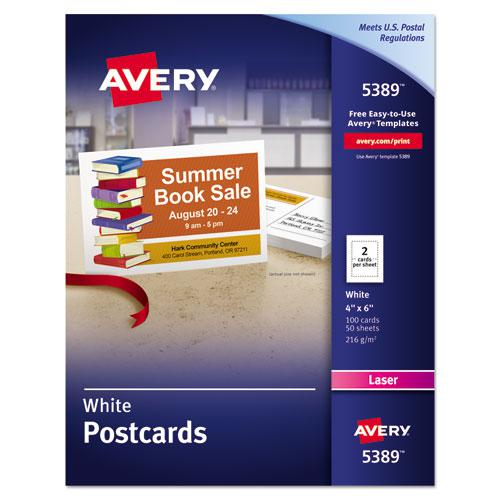 Postcards for Laser Printers, 4 x 6, Uncoated White, 2/Sheet, 100/Box. Picture 1