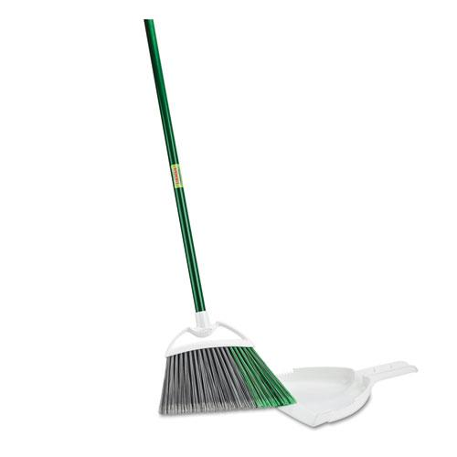 """Precision Angle Broom with Dustpan, 53"""" Handle, Green/Gray, 4/Carton. Picture 1"""