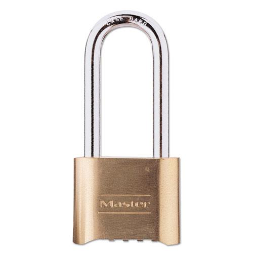 "Resettable Combination Padlock, Brass, 2"" Wide, Brass Color, 6/Box. Picture 1"