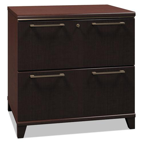 Bush Business Furniture Enterprise 30W 2 Drawer Lateral File Cabinet, Mocha Cherry. Picture 1