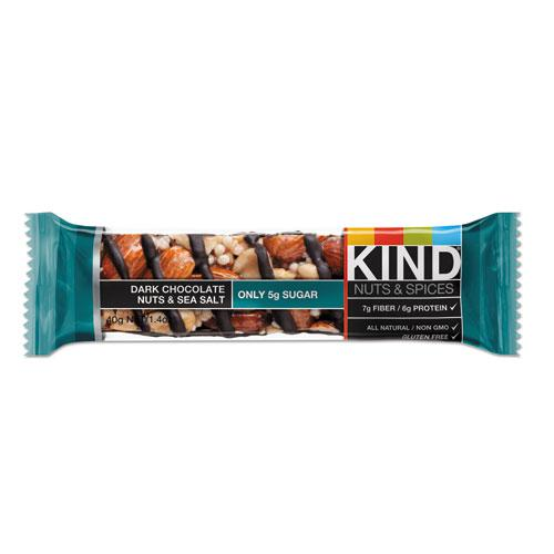 Nuts and Spices Bar, Dark Chocolate Nuts and Sea Salt, 1.4 oz, 12/Box. Picture 9
