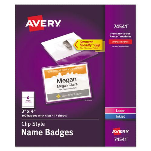 Clip-Style Name Badge Holder with Laser/Inkjet Insert, Top Load, 4 x 3, White, 100/Box. Picture 1