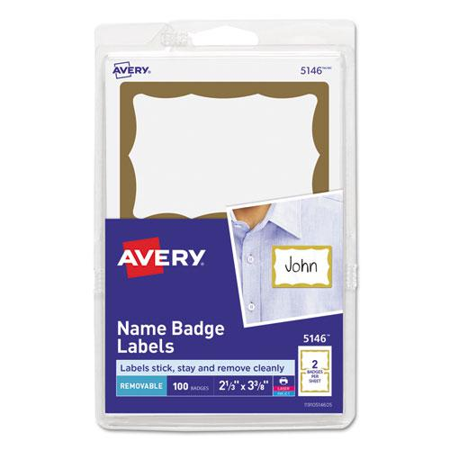 Printable Adhesive Name Badges, 3.38 x 2.33, Gold Border, 100/Pack. Picture 1
