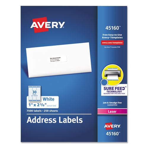 White Address Labels w/ Sure Feed Technology for Laser Printers, Laser Printers, 1 x 2.63, White, 30/Sheet, 250 Sheets/Box. Picture 1