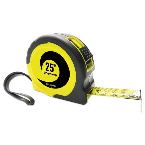 """Easy Grip Tape Measure, 25 ft, Plastic Case, Black and Yellow, 1/16"""" Graduations. Picture 1"""