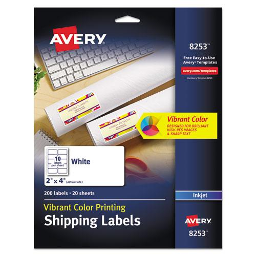 Vibrant Inkjet Color-Print Labels w/ Sure Feed, 2 x 4, Matte White, 200/PK. Picture 1