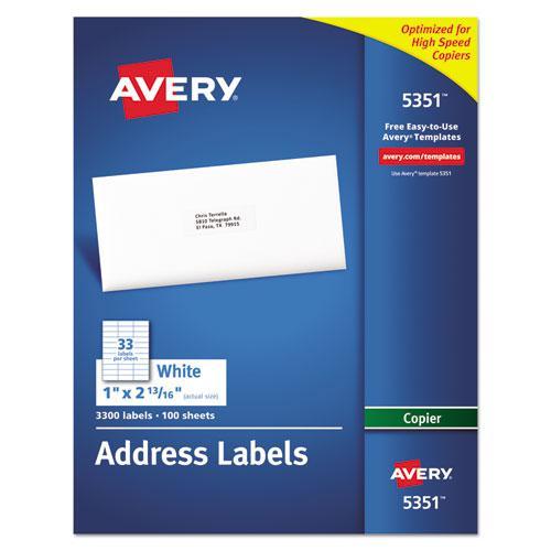 Copier Mailing Labels, Copiers, 1 x 2.81, White, 33/Sheet, 100 Sheets/Box. Picture 1