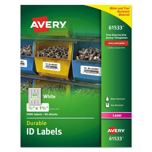 Durable Permanent ID Labels with TrueBlock Technology, Laser Printers, 0.66 x 1.75, White, 60/Sheet, 50 Sheets/Pack. Picture 1