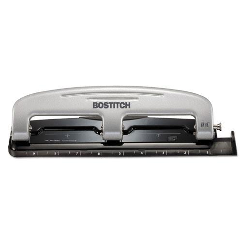 EZ Squeeze Three-Hole Punch, 12-Sheet Capacity, Black/Silver. Picture 1