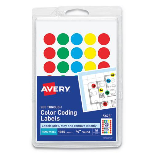 """Handwrite-Only Self-Adhesive """"See Through"""" Removable Round Color Dots, 0.75"""" dia., Assorted, 35/Sheet, 29 Sheets/Pack, (5473). Picture 1"""