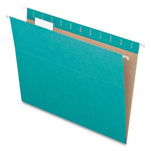 Colored Hanging Folders, Letter Size, 1/5-Cut Tab, Aqua, 25/Box. Picture 8