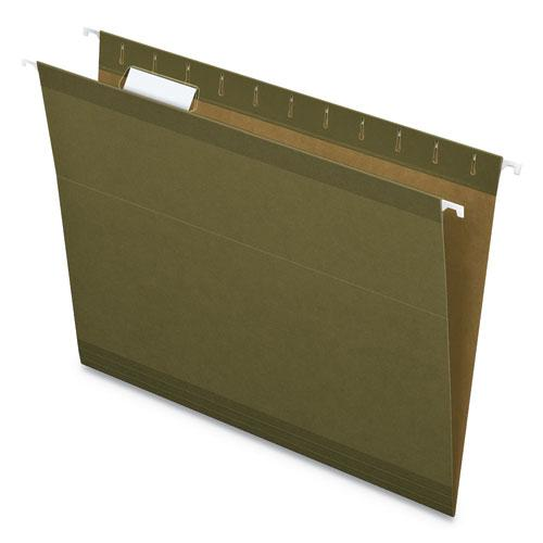 Earthwise by Pendaflex 100% Recycled Colored Hanging File Folders, Letter Size, 1/5-Cut Tab, Standard Green, 25/Box. Picture 1